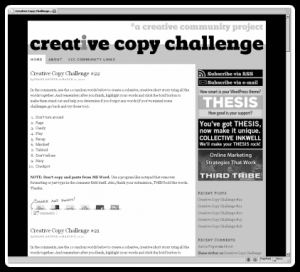 The Creative Copy Challenge Main Page