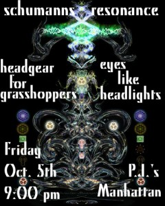 Band flyer for Eyes Like Headlights at P. J.'s