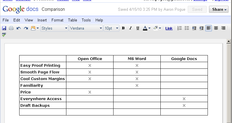 Use an embedded table in your word processor to compare features