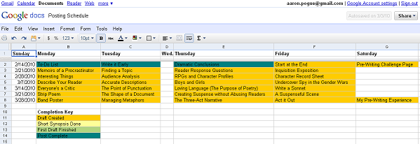Posting Schedule 0