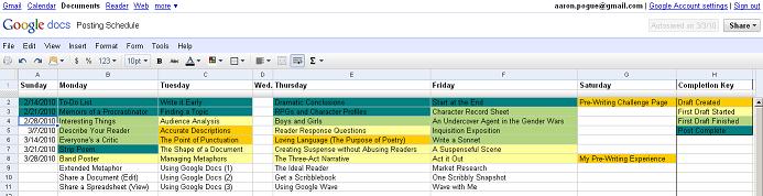 Posting Schedule 1