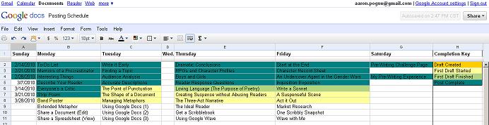 Posting Schedule 2