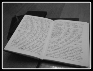 Black and white of Aaron Pogue's scribblebook, showing a scene from Gods Tomorrow.