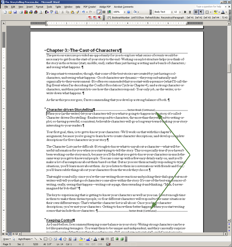 microsoft word how to delete a section break